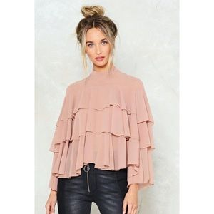 Nasty Gal Rose Pink Tiered Ruffle Blouse